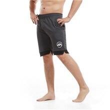 DERMSPE Men Summer Slim Shorts Gyms Fitness Bodybuilding Running Male Short Pant Knee Length Breathable Mesh Sportswear
