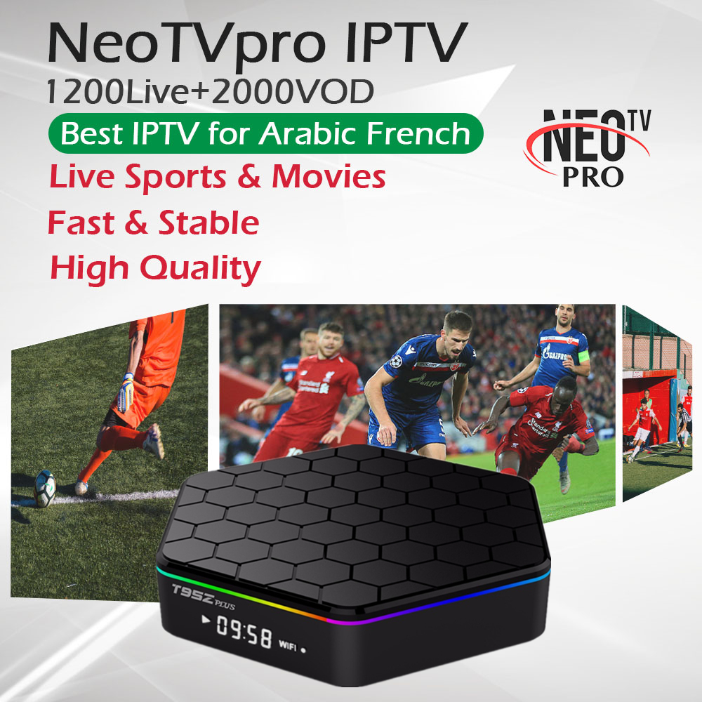 T95ZPlus Android Smart TV Box 3G 32G French Arabic IPTV Subscription 1300Live 2000VOD H 265 4K