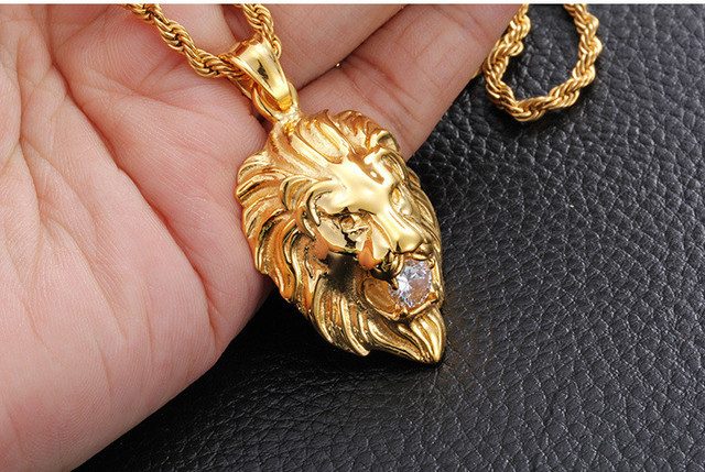 Iced out Necklace 316L Stainless steel gold plated lion head mouth set auger pendant necklace high quality hip hop men jewelry