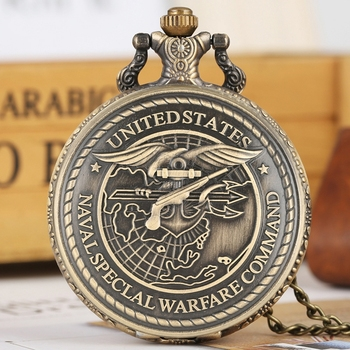 United States Navy Special Warfare Command Quartz Pocket Watch Retro US Seals Necklace Pendant Chain FOB Clocks Gifts - discount item  27% OFF Pocket & Fob Watches