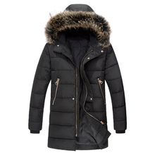 High Quality New Men Padded Parka Cotton Coat Winter Jacket Mens Winter Coat Thick Parkas Artificial Fur Free Shipping