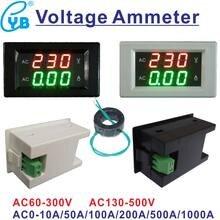 YB4835VA LED Digital Voltmeter Amperemeter AC 60-300V 130-500V Spannung Strom Meter AC 10A 50A 100A 200A 500A CT Volt Ampere Tester