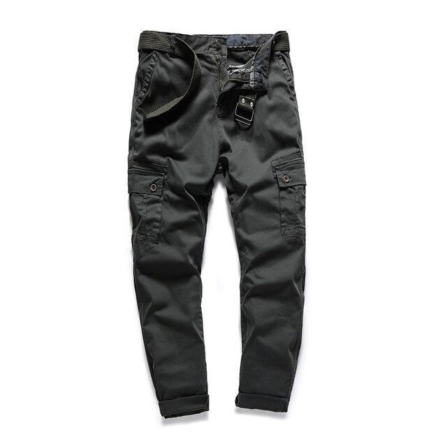 Brand New Men's Cargo Pants 2018 100% Cotton Designer Plus Size Male Street Casual Pants For Men Plus Size 30-38 AFFG803 2
