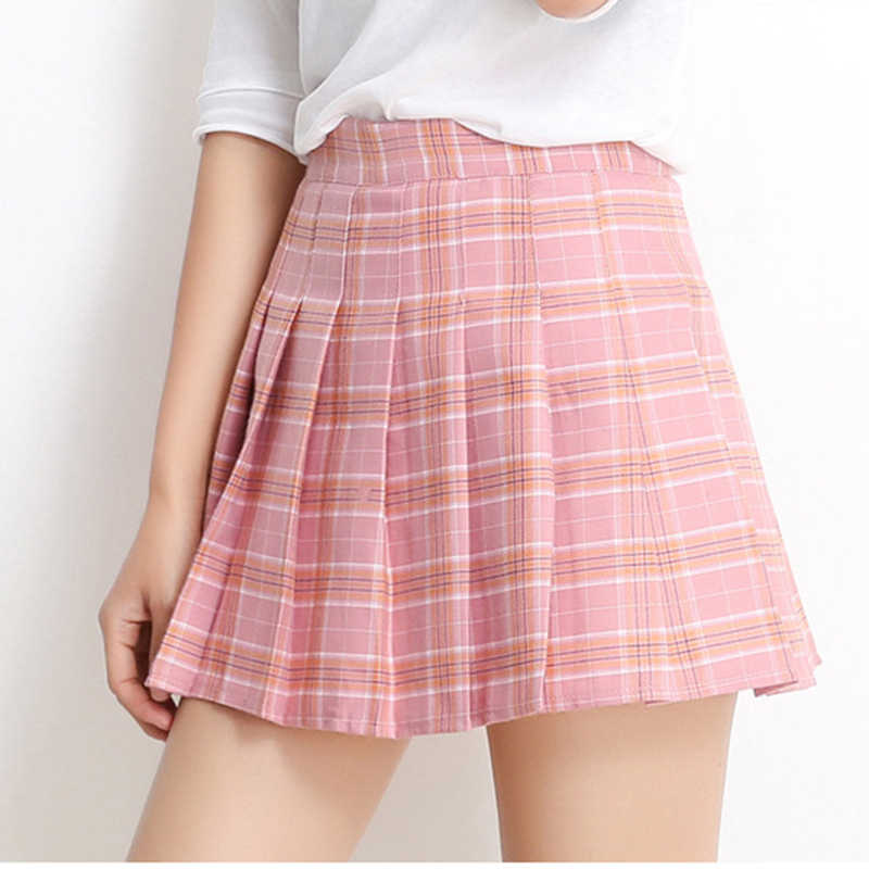 fdcfd4b097 ... Harajuku Kawaii High Waist Pink Plaid A Word Skirt Women Kpop Ulzzang  Mini Skirts Pleated Schoolgirl ...
