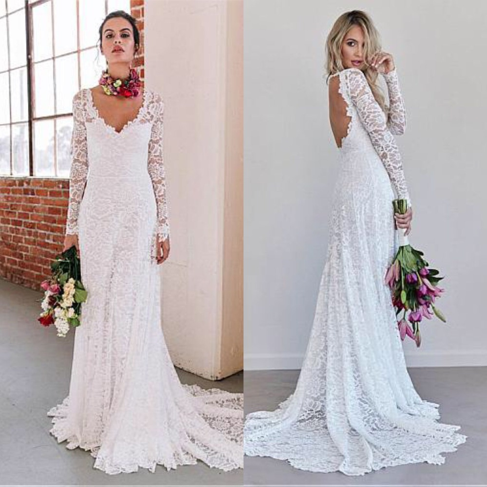 Full Lace Wedding Dresses Sheath Design Long Sleeve Sexy Backless Long Sleeve Bridal Dress Beach Gowns Robe De Mariee