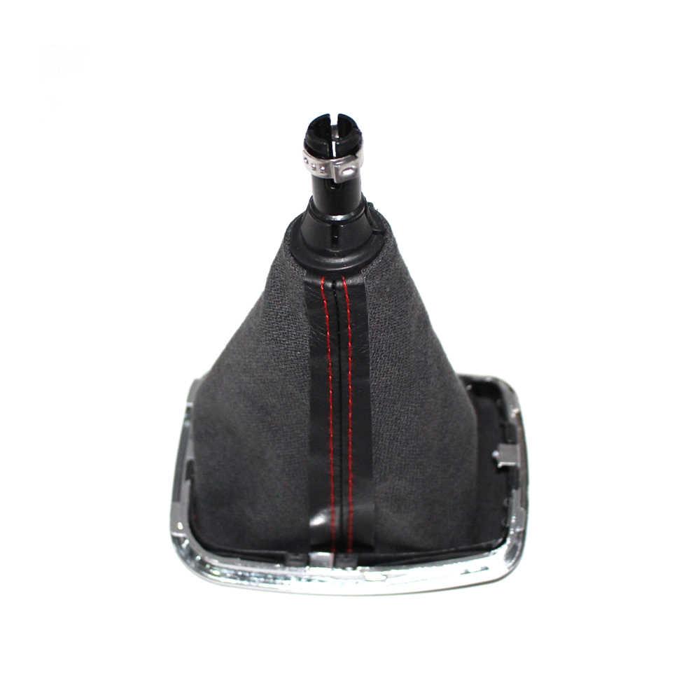 Para vw bora mk4 golf 4 jetta 4 98-04 botão do deslocamento de engrenagem do carro com quadro cromado preto de couro vermelho rosca tampa anel vermelho 5 velocidade 12mm