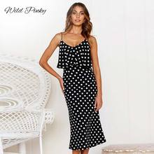 WildPinky Sexy Spaghetti Strap Satin Midi Dress Women Summer Casual Polka Dot Bodycon Female Leopard Print Slim Vestidos
