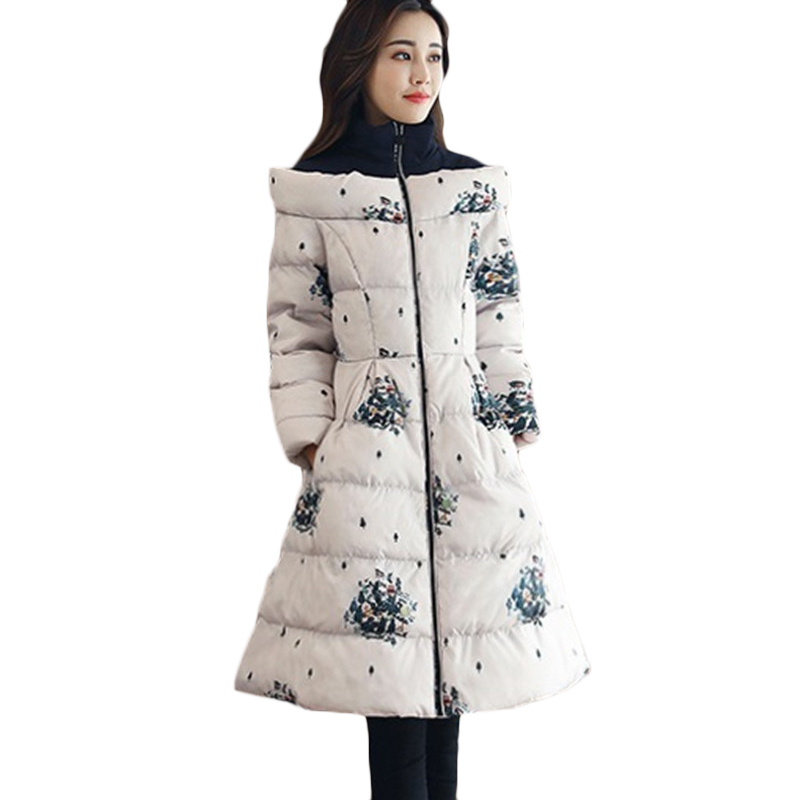 New Women Printed Cotton Jacket Autumn Winter Fashion Warm Down cotton Jackets Women's long Casual Plus size   Parkas   3XL F806