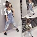 2016 spring girls clothing jeans pants fashion girl denim overalls kids denim overalls Jeans Overall For Girl Denim