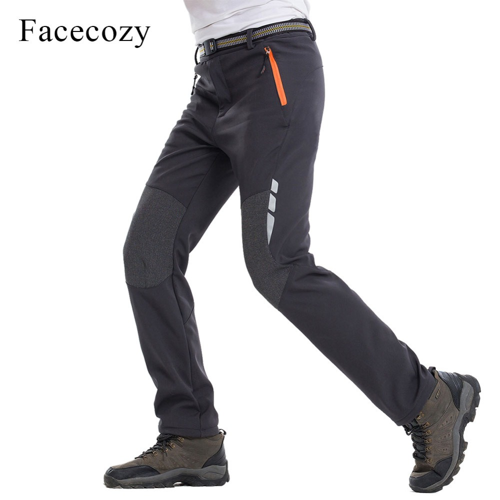 Facecozy Men 2018 Winter Softshell Pants Reflective Outdoor Sports Hiking Camping Pants Male Warm Fleece Windproof Trousers боковая панель ravak magnolia p 75 белая cz61100a00
