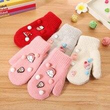 Winter Children Thicken Warm Gloves DIY Venonat New Style Rabbit Hair Full Fingers Wool Mittens Girls Baby Anti Scratch