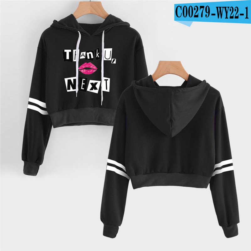 Ariana Grande Cropped Hoodie Girls High Waist American Singer Female Tracksuit Black Ariana Grande Clothing Hooded Crop Top(China)