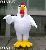 Custom made high quality 2.1m inflatable chicken costume giant inflatable rooster cartoon character walking costumes for adults