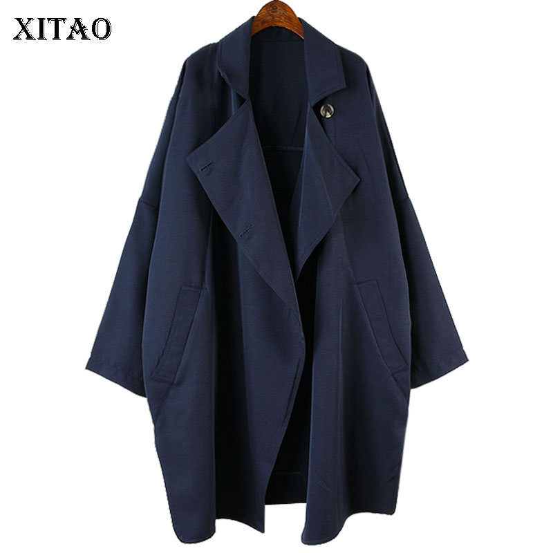 [XITAO] Europe Fashion New Women 2018 Autumn Wide-waisted Open Stitch Turn-down Collar Full Sleeve Casual Long   Trench   LJT3898