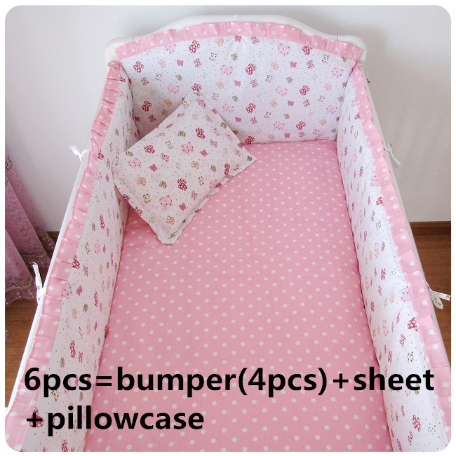 Promotion! 6PCS kids Baby Cot Bedding sets baby girl bedding crib sets baby sheet ,include:(bumper+sheet+pillow cover) promotion 6pcs baby crib bedding set for girl boys bedding set kids cot bumper baby cot sets include 4bumpers sheet pillow