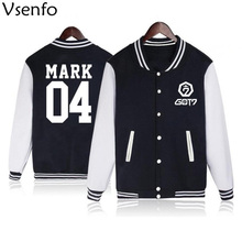 Vsenfo Kpop GOT7 Hoodie Men Women Casual Baseball Jacket Got 7 Name Album Letter Print Sweatshirt For Boys Girls Autummn Winter