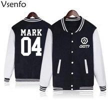 Vsenfo Kpop GOT7 Hoodie Men Women Casual Baseball Jacket Got 7 Name Album Letter Print Sweatshirt For Boys Girls Autummn Winter