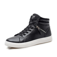 Men British Style High Top Casual Shoes Trainers Pu Leather Outdoor Plain Shoes Man S Fashion