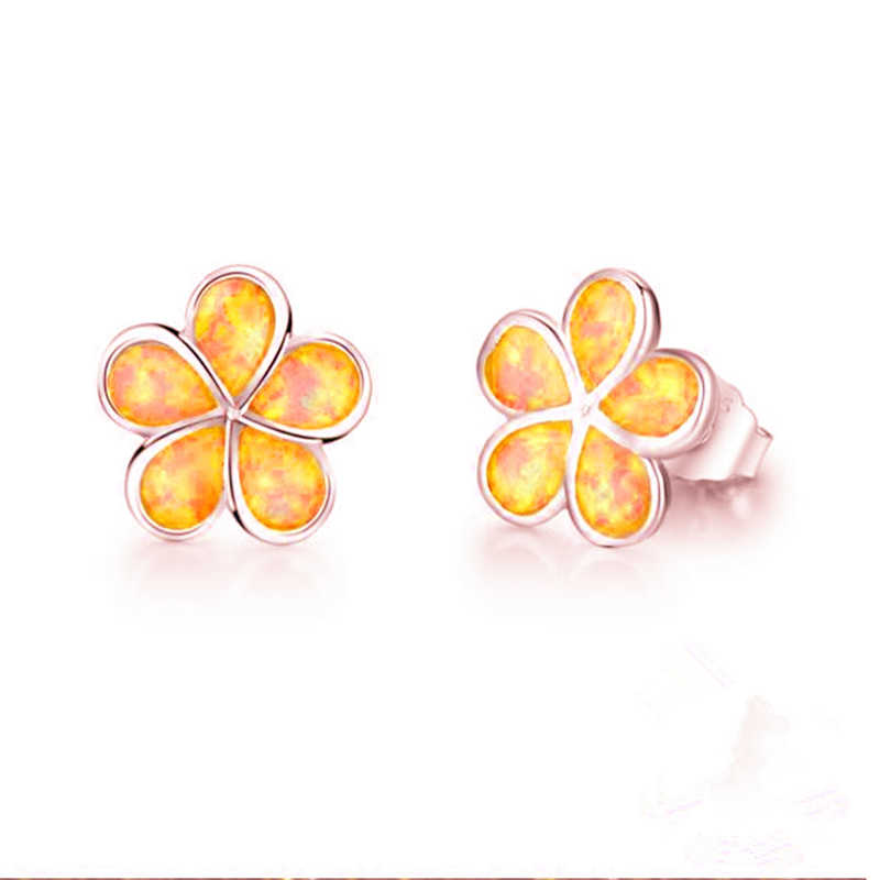 Marcats Cute Flower Clover Stud Earring with Blue Synthetic Opal Stone Trendy Small Earrings for Women Fashion Statement Jewelry