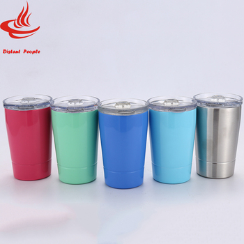 12oz Stemless wine mug 5 colors Vacuum Insulated Stainless Steel Wine Glasses Travel Beer cup With Lids and Straw