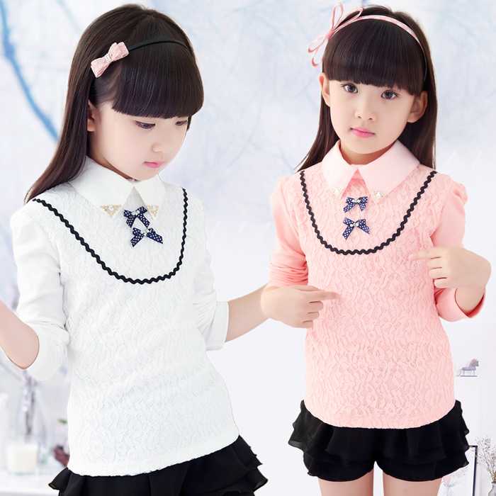 2017 spring children's clothes girls sweaters long sleeve lace thin cotton baby girl pullover sweaters for girls kids sweater