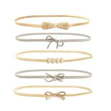 Womens Elastic metal waist belts women silver gold chain belts female cute  bow knot heart buckle 1ca08344c25b