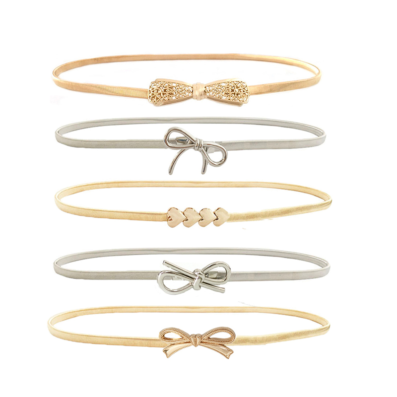 Womens Elastic metal waist   belts   women silver gold chain   belts   female cute bow knot heart buckle   belts   for ladies dresses