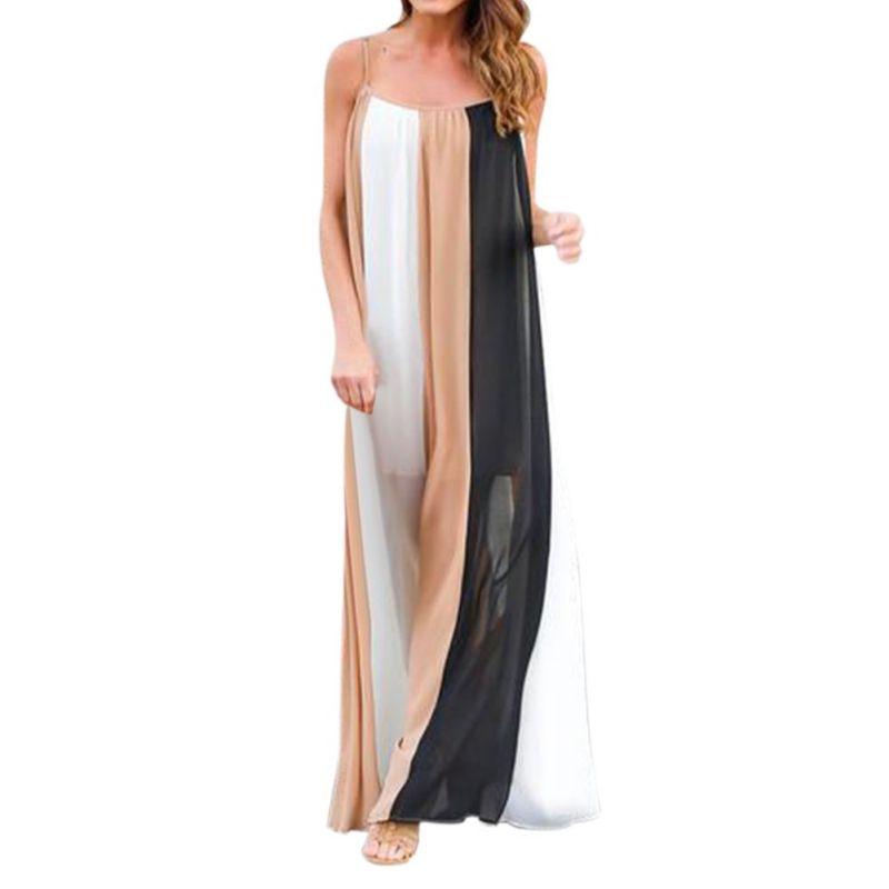 8f631bc5dd4f 2018 Summer Bohemian Multicolor Patchwork Spaghetti Strap Maxi Dresses  Occasion Wear Color Block Pleated Long Dress V2