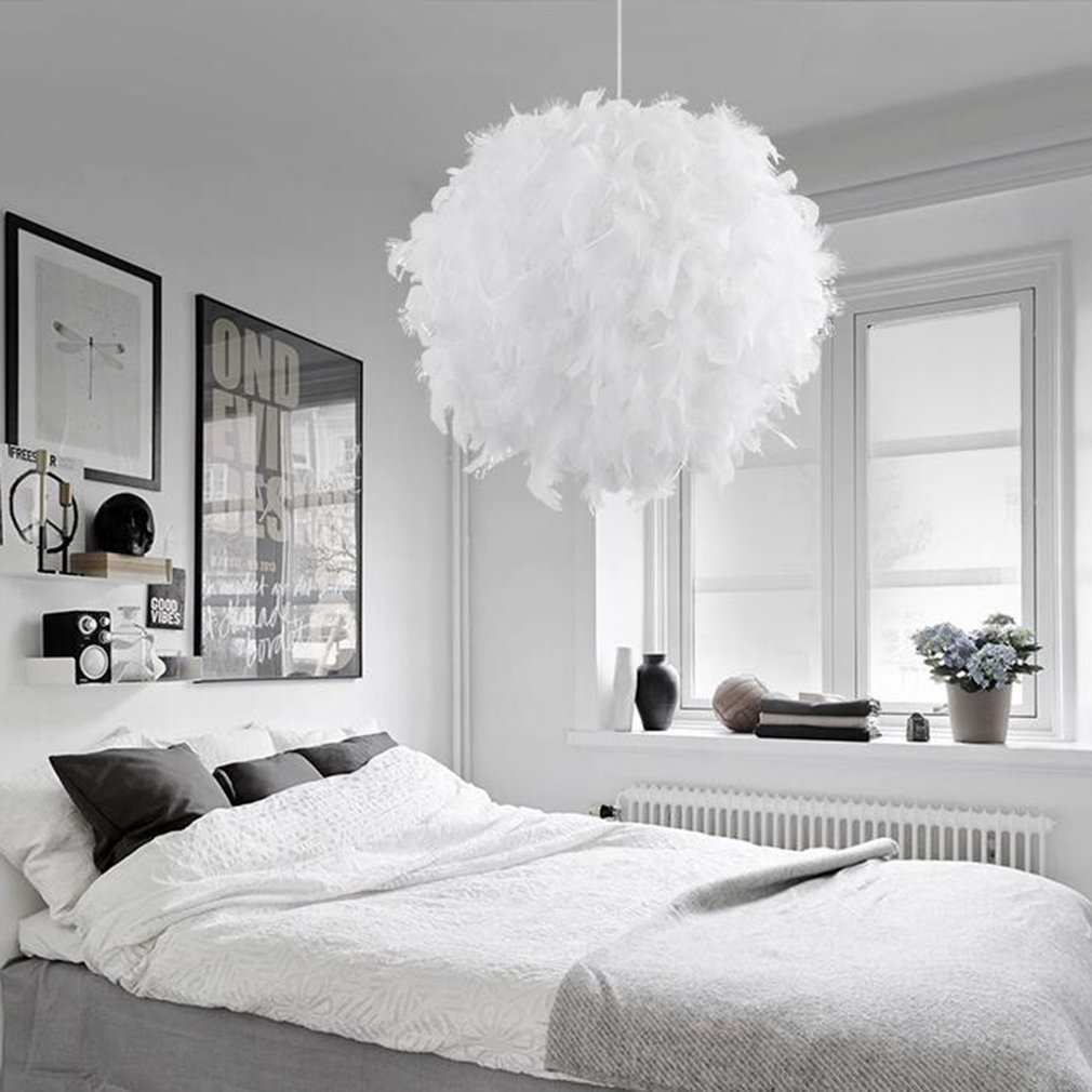 Pendant lights Feather Droplight Modern Romantic Dreamlike Bedroom Hanging Lamp Lamparas For Dinning Marriage Living Room new modern romantic luxury white pink color feather pendant light lamp marriage room clothing store bedroom dining room pendant lamp