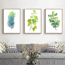 Minimalist Posters Green Botanical Leaves Nordic P