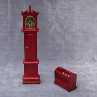 Floor Grandfather Tall Case Clock miniature dollhouse 1/12 scale wooden 1PCS #TI02