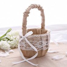 Anillo de ceremonia de boda, almohada, cesta de flores, encaje, arpillera, lazo, cesta Vintage, almacenamiento para niña, suministros para fiestas de boda