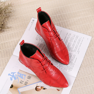 Image 3 - 2020 Fashion Women Boots Casual Leather Low High Heels Spring Shoes Woman Pointed Toe Rubber Ankle Boots Black Red Zapatos Mujer