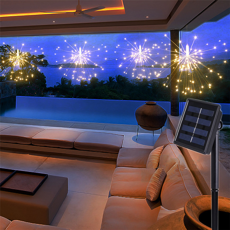 120Led 200 Led Solar Lamp Starburst String Light Copper Wire Solar Panel Powered Fairy DIY Firework Xmas Explosion Wedding Light (1)