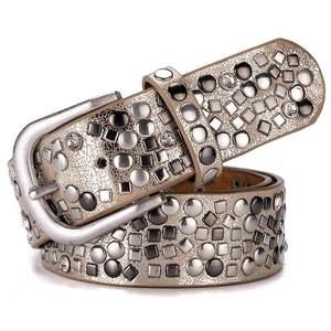 Image 3 - Split Leather + PU Rivet Belt Fashion Rhinestone Womens Studded Belts High Quality Female Leather Rock Women Strap For Jeans