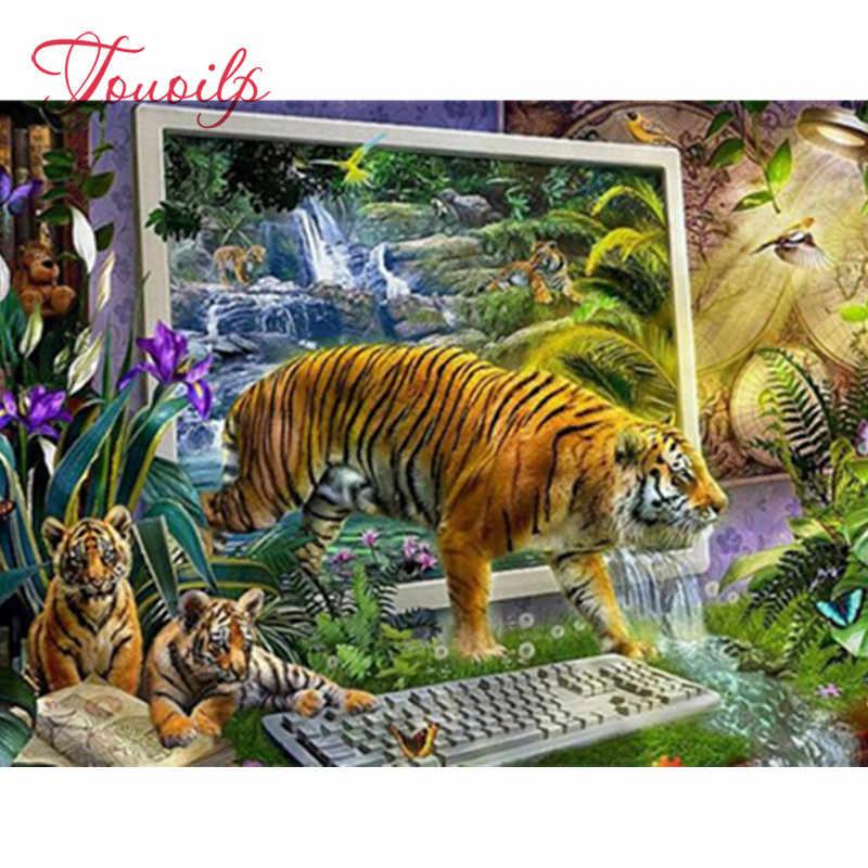 5D diamant broderie animaux, fantaisie, oiseau, tigre bricolage diamant peinture paysage diamant mosaïque pleine ronde forage diamant image