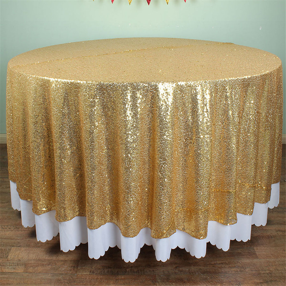 glitter gold sequin glamorous tablecloth 120 inches round