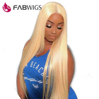 Fabwigs 180% Density Lace Front Human Hair Wigs Brazilian Remy Hair with Baby Hair Pre Plucked #613 Blonde Human Hair Wig
