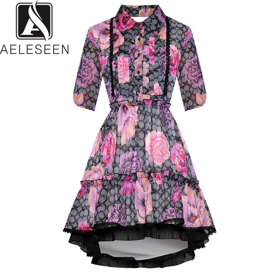 AELESEEN robes de piste 2019 femmes élégant fleur imprimer plissé volants dentelle Patchowrk luxe fête irrégulière robes Vintage