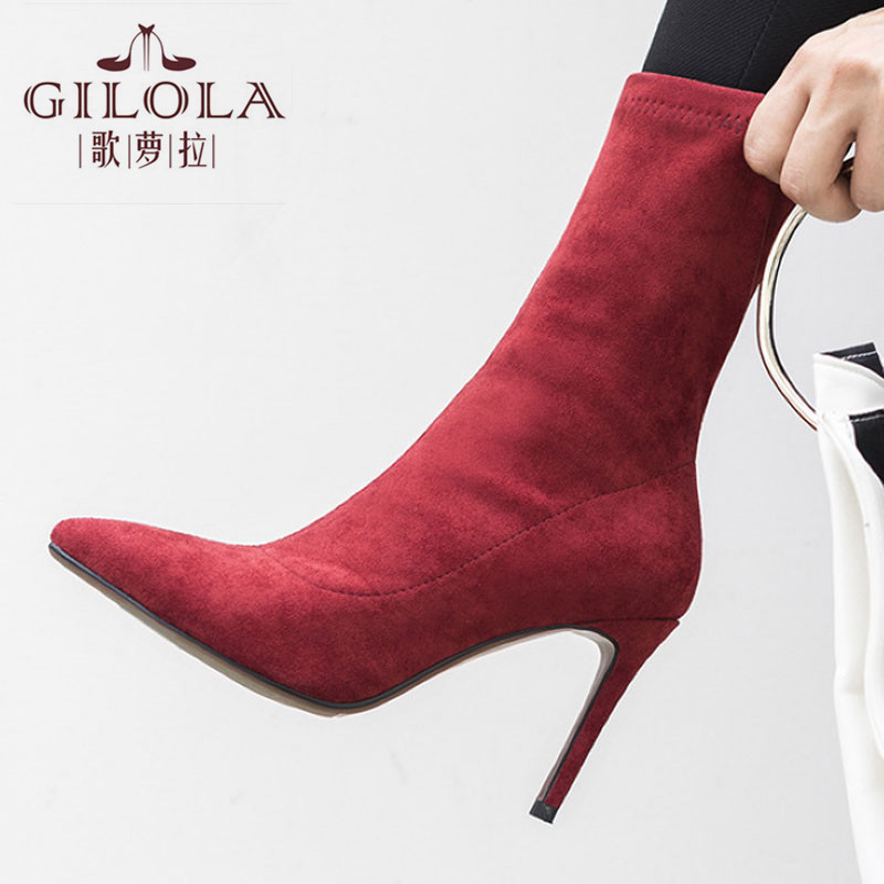 High Heels Stretch Fabric  Women Boots Fashion Autumn Winter Thin Heels Ankle Pointed Toe Women Shoes Woman #Y0052021Y