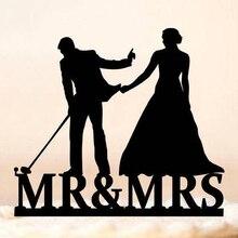 Гольф свадебный торт Топпер, невеста потянув жениха силуэт свадебный торт Топпер, Mr & Mrs Lover Ever Гольф тема торт Топпер