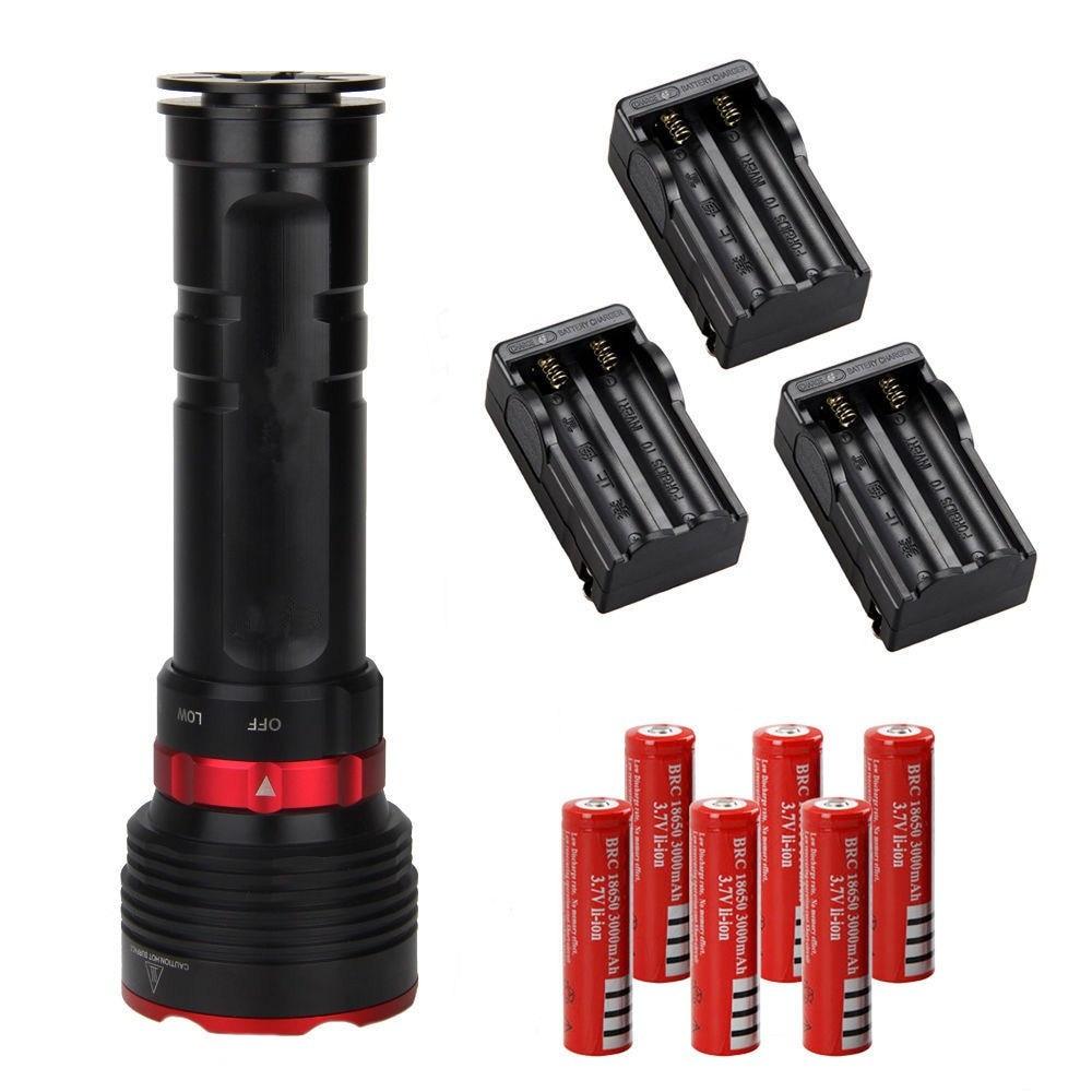 Black+Red1200LM 5x XM-L2 LED Underwater 100m  Scuba Diving Flashlight Torch+6X18650+3xCH black red 1800lm cree xm l2 led scuba diving flashlight torch 18650 light underwater 100m