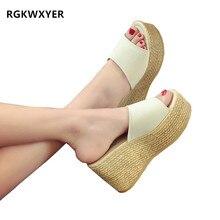 RGKWXYER New Wedge Slippers Platform High Heels Women Outside Shoes Beach Antiskid Female Sandals Clog Slides