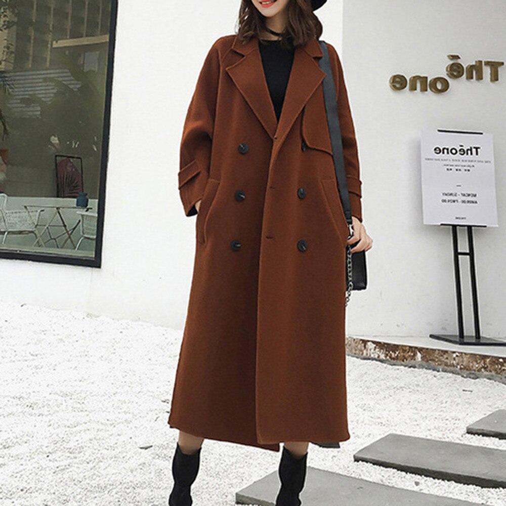 nouvelle veste manteau revers feminina trench manteaux v tements d 39 hiver coffee femme roupas. Black Bedroom Furniture Sets. Home Design Ideas