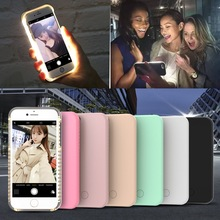 KISSCASE Selfie LED Flash Light Case For iPhone 5 5S SE 6 6S 7 Plus Anti-Skid Luminous Hard Back Cover For iPhone 5S 6 6S 7 Plus