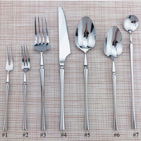 Klassische Silber 1 PC Besteck Set 304 Edelstahl Geschirr Geschirr Set Messer Dessert Gabeln Suppe Teelöffel Lange Griff Scoops
