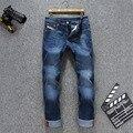 Famosas Marca de Jeans Homens 2016 Homens do Desenhador Chegada Zipper Fly Casual calças de Brim dos homens Calças de Brim 100% Calças de Algodão Tamanho Grande Homme