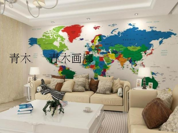 Custom 3d mural 3D Color world map children's room sofa coffee house background wall living room bedroom study wallpaper mural  free shipping 3d cartoon graffiti mural living room sofa background wall coffee house tv restaurant bar wallpaper mural