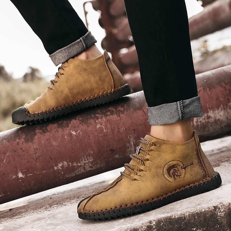 Классические мужские ботинки зимние плюшевые теплые ботинки мужские зимние ботинки осенние классические ботильоны на шнуровке для вождения, большие размеры 38-48
