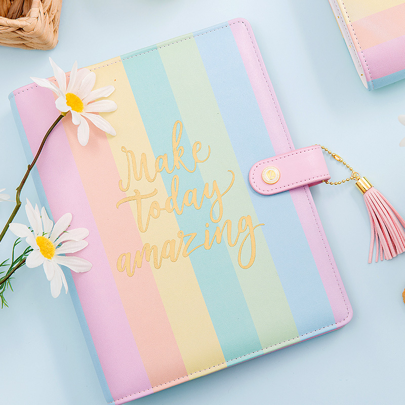 Lovedoki 2018 korean Candy color rainbow spiral notebook a5a6a7 Planner Organizer agenda cute diary stationary gift Supplies chun guang coconut candy 5 6 ounce